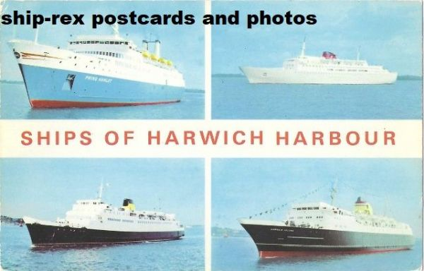Harwich Harbour, ships, multi-view postcard (a2)